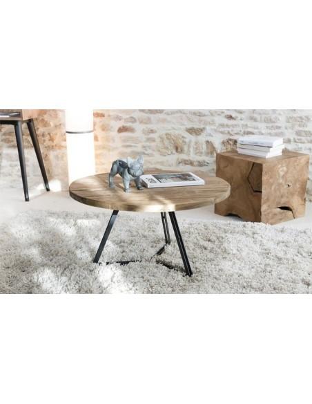Table basse ronde teck et métal