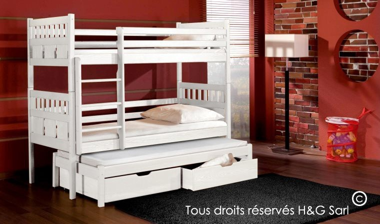 lit enfant superpos sparable gigogne 3 places en bois massif. Black Bedroom Furniture Sets. Home Design Ideas