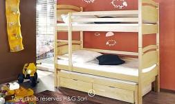 Lit superposé 3 couchages avec tiroirs de rangement