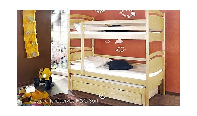Lit Enfant Superpose 3 Couchages En Bois Massif Avec Rangements