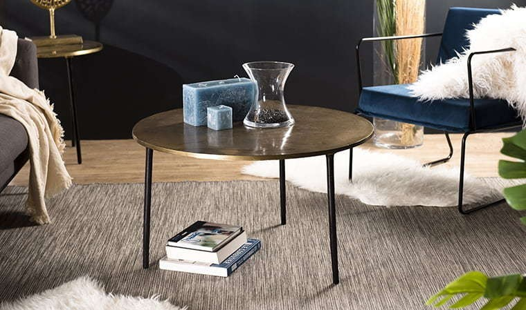 Table Basse Ronde Doree 80 Cm Goldy