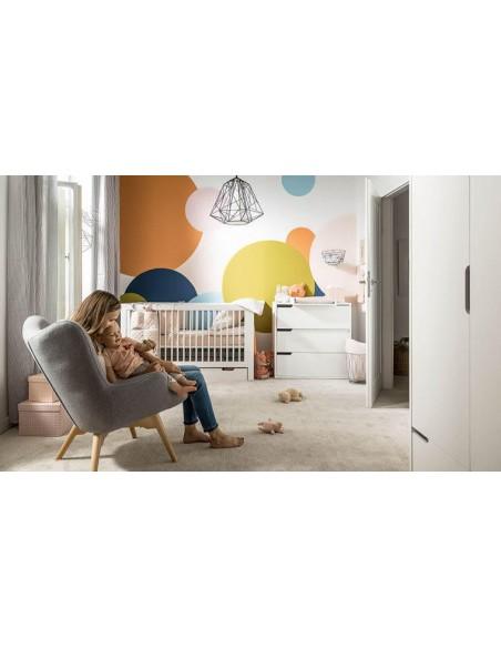 Lit en bois blanc vernis enfant évolutif