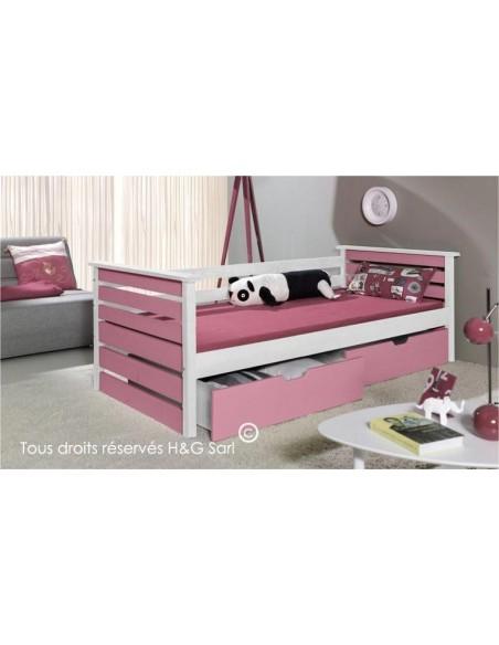 Lit enfant rose et blanc 90 x 200 cm