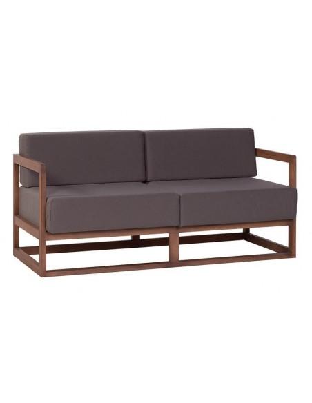 Canapé design marron en tissu et bois