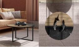 table basse ronde marbre noir