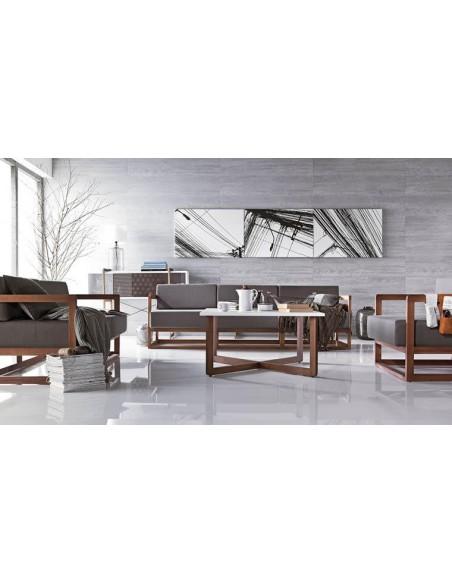 Fauteuil de salon moderne bois et tissu