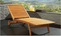 Chaise longue multipositions en bois