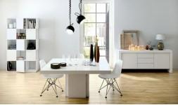 Table carrée blanc brillant