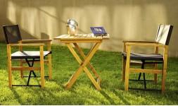 Salon de jardin 2 places pliant en bois avec fauteuil cinéma