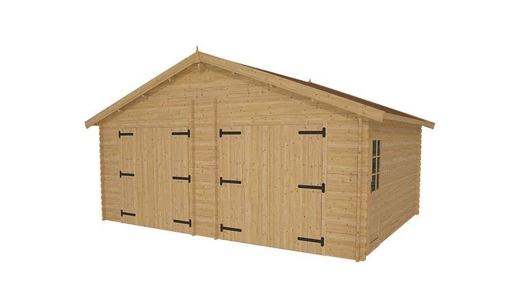 garage double en bois pfabriqu avec toiture pour voitures 36 m2. Black Bedroom Furniture Sets. Home Design Ideas