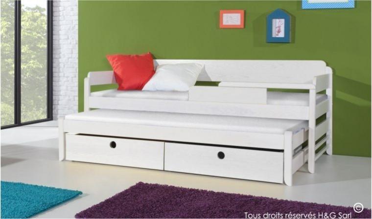 lit gigogne blanc pour enfant en bois massif 2 couchages et 2 tiroirs. Black Bedroom Furniture Sets. Home Design Ideas