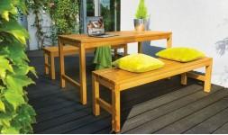 Salon jardin bois massif table et bancs