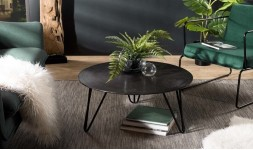 Table basse ronde motifs noirs