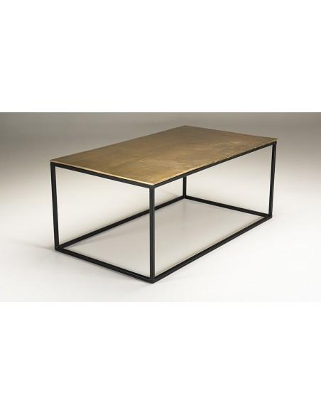 Table basse rectangulaire dorée