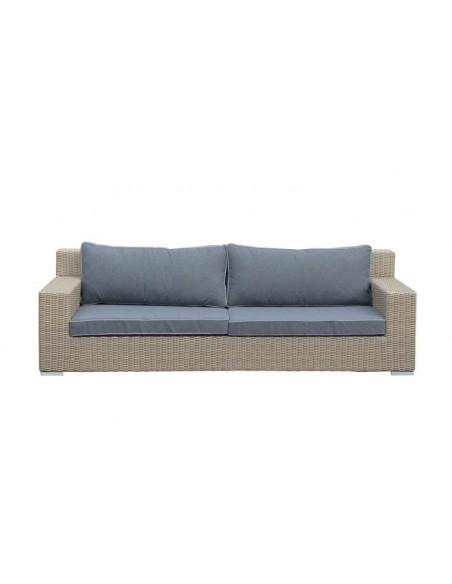 Canapé de jardin 3 places en résine tressée grise