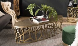 Table basse ovale dorée