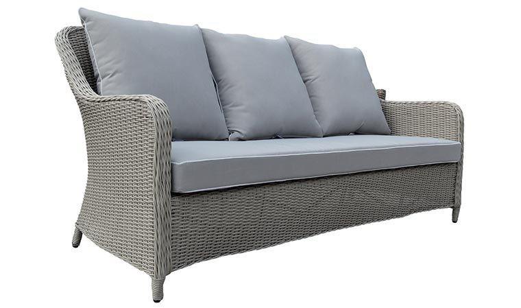 canap d 39 ext rieur design en r sine tress e 3 places grace. Black Bedroom Furniture Sets. Home Design Ideas