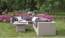Canapé d'angle 5 places pour extérieur avec table basse en résine tressée