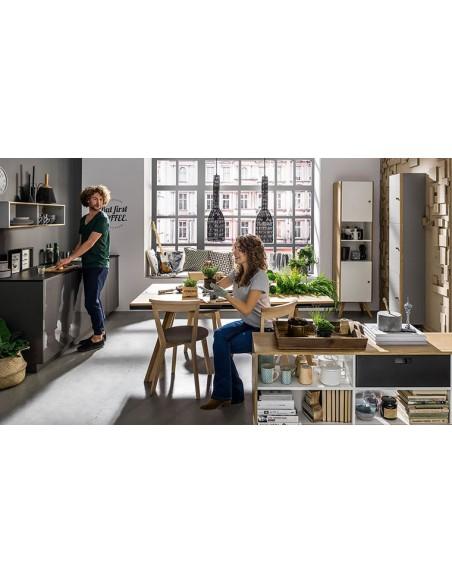 étagère murale grise et bois