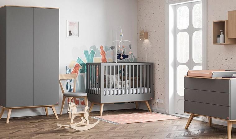 Chambre bébé complète grise Nature Vox 60 x 120 cm