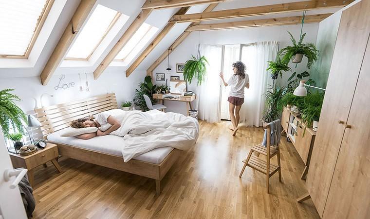 lit avec tête de lit design chêne nature en 140, 160 et 180 cm