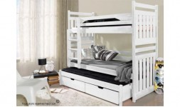 Lit enfant superposé design blanc 3 couchages