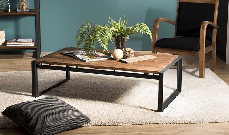 table basse industrielle rectangulaire