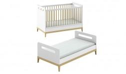 Lit bébé blanc crème évolutif en lit enfant style scandinave