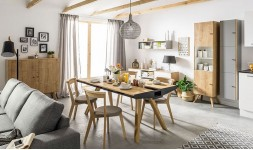 Table design en chêne avec tiroirs