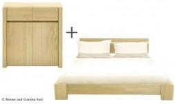 Commode et lit en bois massif hêtre