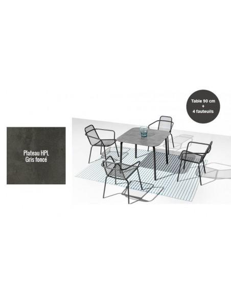 Salon de jardin design carré en inox 4 places