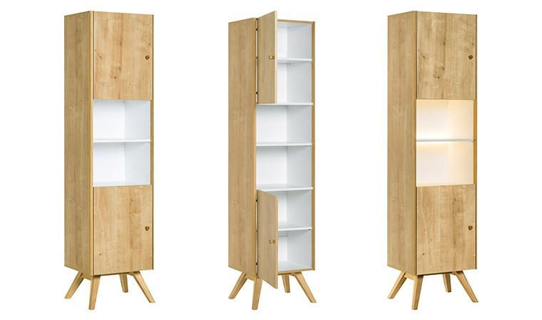 meuble vitrine scandinave en bois ch ne naturel nature vox. Black Bedroom Furniture Sets. Home Design Ideas