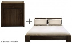 Commode et lit en bois massif wengue