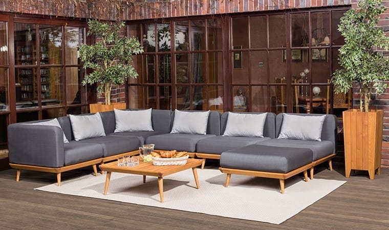 Salon de jardin bas en bois et tissu gris chiné - Nourd