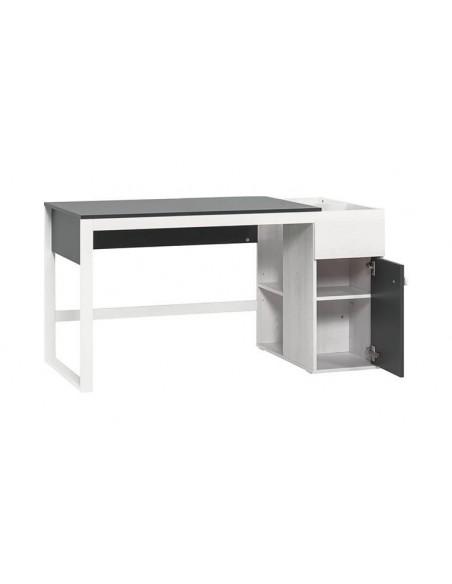 Bureau design enfant en bois blanc et gris