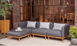 Canapé d'angle de jardin en bois
