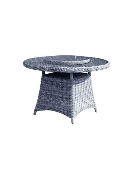 Salon repas rond en résine tressée grise 4 places