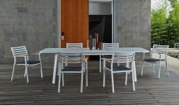 Salon de jardin extensible blanc 6 places
