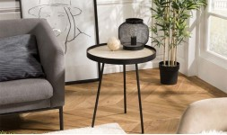table appoint ronde metal noir
