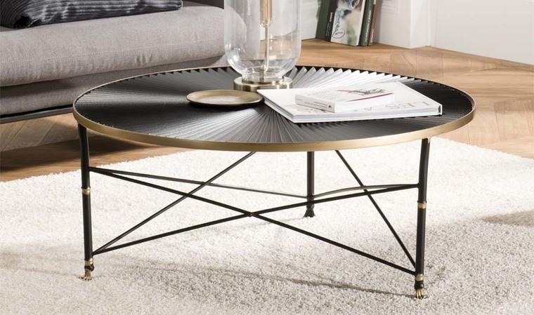 table basse ronde dorée et noire