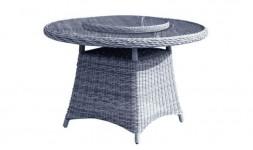 Table de jardin ronde à double plateau