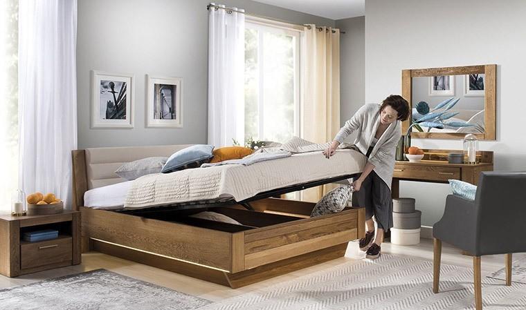 lit gain de place adulte 140 x 200 cm en ch ne massif loft. Black Bedroom Furniture Sets. Home Design Ideas