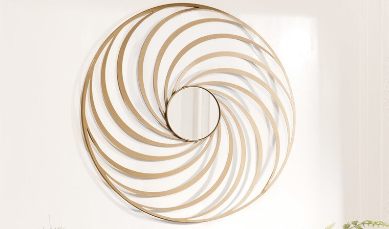 Miroir mural doré spirale