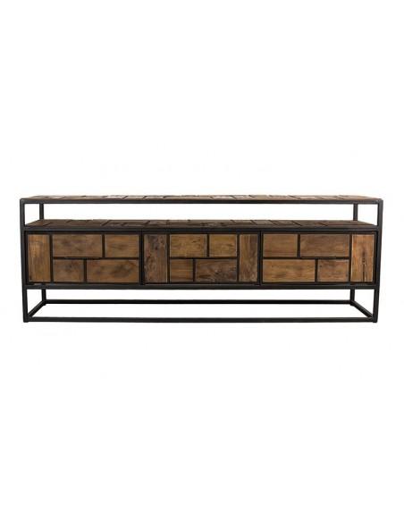 meuble tv métal noir et teck