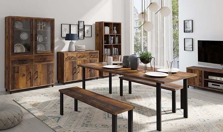 table manger avec banc style industriel bonn house. Black Bedroom Furniture Sets. Home Design Ideas