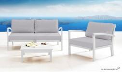 Salon de jardin en bois blanc
