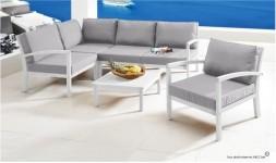 Salon jardin bois massif blanc
