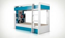 lit superposé blanc et bleu 2 places