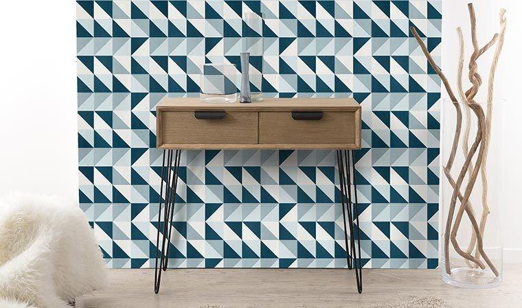 console scandinave en bois et mtal noir 2 tiroirs. Black Bedroom Furniture Sets. Home Design Ideas