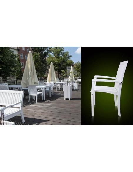 fauteuil jardin bois massif blanc